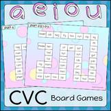 CVC Board Games Phonics AEIOU - Pastel Bubbles