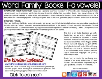 CVC Word Family Books {short a}
