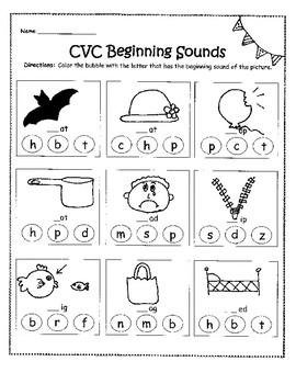 CVC Bubbles Beginning Sounds