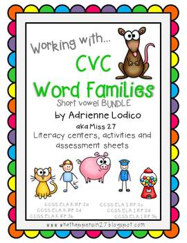 CVC Bundle Working with Short Vowels - Word family literacy centers
