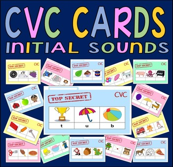 CVC CARDS - INITIAL SOUNDS RESOURCES EYFS KS1 LITERACY ENGLISH SPELLINGS