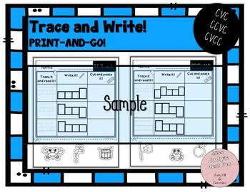 CVC, CCVC, CVCC Trace, Write and Cut-and-Paste