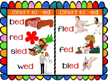 CVC/ CCVC Short 'e' Picture Mini book -  Word Families (35 words) Jolly Phonics