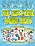 CVC, CVCC & CCVC Word Sets Clipart Mega Bundle Pack — Incl