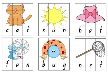 CVC, CVCC and CCVC Word Puzzles - Phonics Game