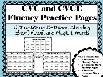 CVC & CVCE Fluency Practice Pages:Distinguishing Between Short Vowel and Magic E
