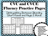 CVC & CVCE Fluency Practice Pages:Distinguishing Between S