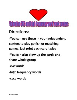 February CVC CVCE and high frequency word work centers