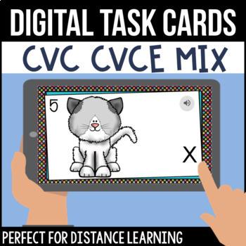 CVC/CVCe: Mixed Short and Long Vowel Digital Task Cards