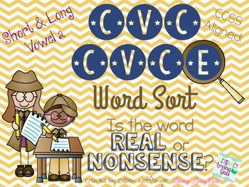 CVC CVCe Vowel A Word Sort- Real or Nonsense