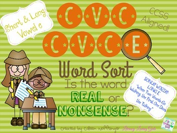 CVC CVCe Vowel E Word Sort- Real or Nonsense