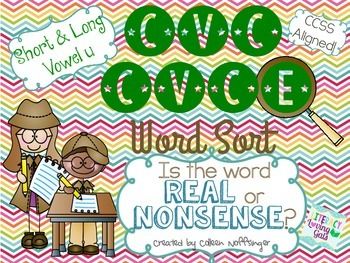 CVC CVCe Vowel U Word Sort- Real or Nonsense