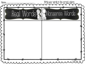 CVC CVCe Vowel U Word Sort- Real or Nonsense