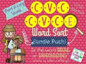 CVC CVCe Word Sort- Real or Nonsense Bundle Pack