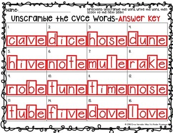CVC & CVCe Words 2nd Edition-Unscramble the Words!