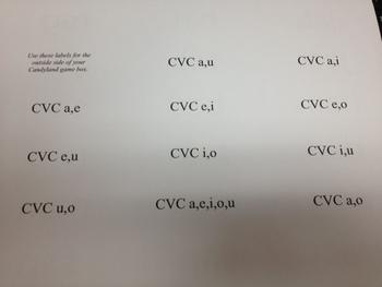 CVC Candyland Labels = INSTANT GAME