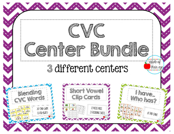 CVC Centers Mini-Bundle (Blending Cards, Clip Cards, I have, Who Has)