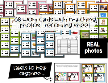 CVC Chunk & Match Phonics Cards with REAL Photos {Guided Reading Word Work}