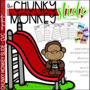 CVC Activities - Chunky Monkey Slide - Chunking Words Activities