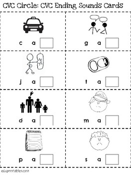 CVC Circle Game - Ending Sounds Practice