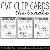 CVC Clip Card Bundle {Beginning, Medial, & Final Sounds}