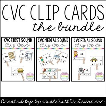 CVC Clip Card Bundle {Beginning, Medial, & Final Sounds}
