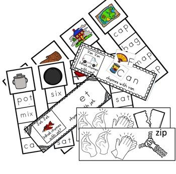 CVC Clip Cards and Rhyming Bundle