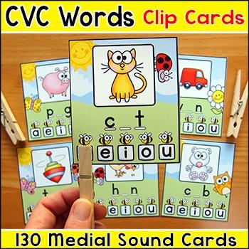 Medial Vowel Sounds Practice - Phonics CVC Words Picture Clip Cards
