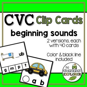 CVC Clip Cards - Beginning Sounds