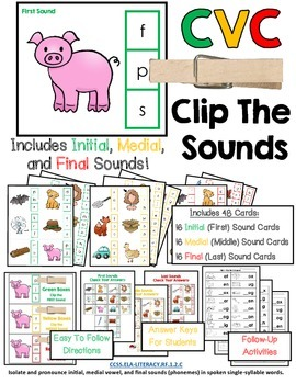 CVC Clip Cards:  Clip The Sounds - Initial, Medial, and Final Sounds Included!