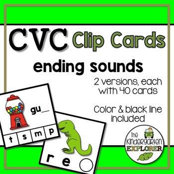 CVC Clip Cards - Ending Sounds