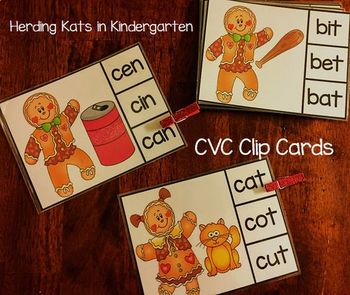 CVC Clip Cards - Gingerbread