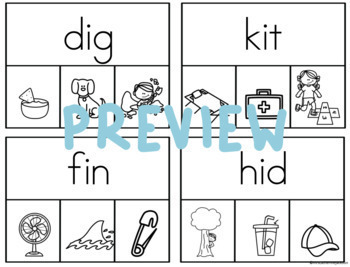 CVC Clip Cards for the Kindergarten Reading Section of the ELPAC