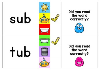 CVC Clip and Flip Cards ~ Self checking CVC word center activity