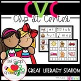 CVC Clip-it Word Work Center