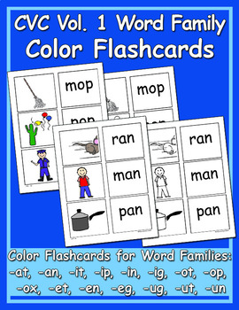 CVC Color & BW Flashcards Vol. 1 - Heidi Songs