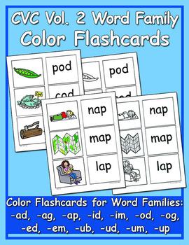 CVC Color & BW Flashcards Vol. 2 - Heidi Songs