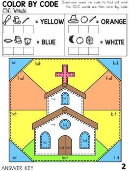 CVC Color By Code Beginning Sounds Easter Edition