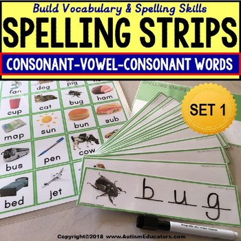 Where Vocabulary Of Autism Is Failing >> Cvc Consonant Vowel Consonant Vocabulary Spelling Strips Autism Resource