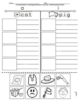 Cut And Paste Spell Phonics Picture Sorting Worksheets Cvc Free Sample