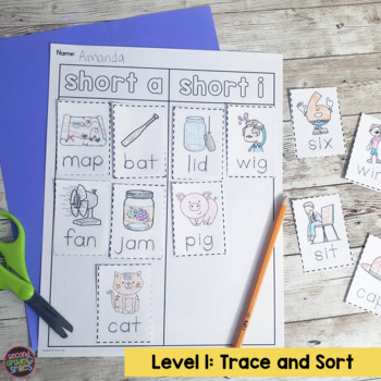 CVC Words Worksheets Cut and Paste Word Sorts