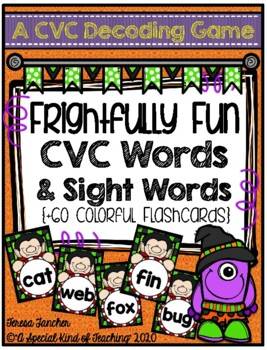 CVC Decoding Game- Frightfully Fun CVC Words & Sight Words {+60 flashcards}