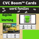 CVC Digital BOOM Task Cards Word Families AN, OP, IP, EN (