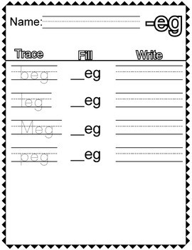 "CVC ""E"" Families Trace Fill and Write"