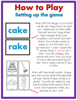 CVC-E Long Vowel Word JUST MOVE! (A Get Up and Move Around the Classroom Game)