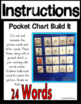 CVC-E Long Vowel Word Pocket Chart Literacy Center (24 CVCE  Words and Pictures)