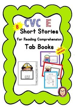 CVC E Short Stories/ Reading Comprehension Passages Mini Tab Book