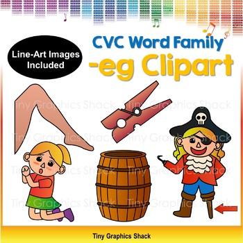 CVC -EG Word Family Clip Art (Short E)
