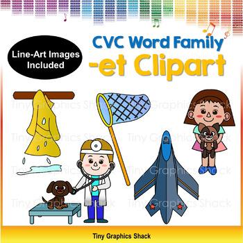 CVC -ET Word Family Clip Art (Short E)