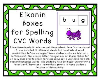 14 Different Elkonin Boxes, NO PREP CVC Words, Spelling, S